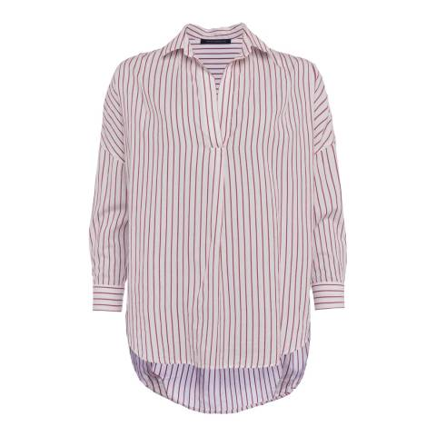 French Connection White/Red Bega Stripe Shirt
