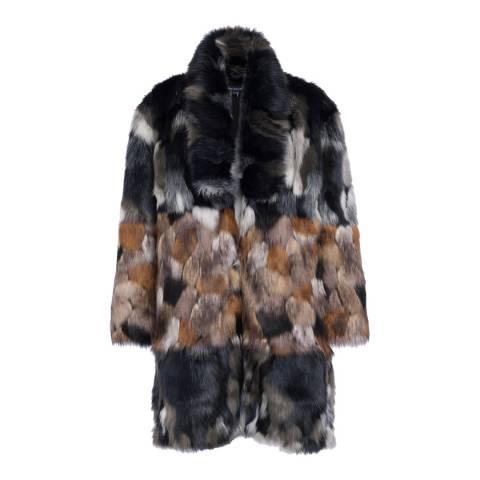 French Connection Blue/Multi Golda Faux Fur Coat