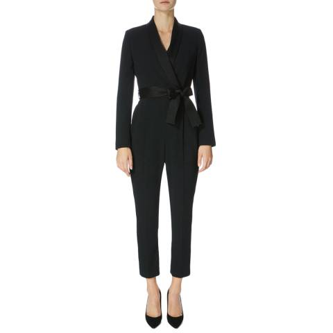 Karen Millen Black Tuxedo Wrap Jumpsuit