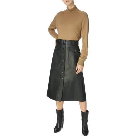 Karen Millen Black Midi A-line Button Fall Skirt