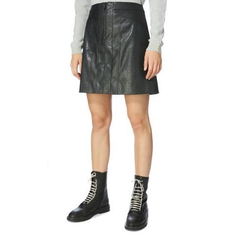 Karen Millen Black Faux Snake Leather Skirt