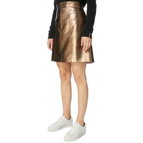 Karen Millen Bronze Mini Faux Leather Skirt