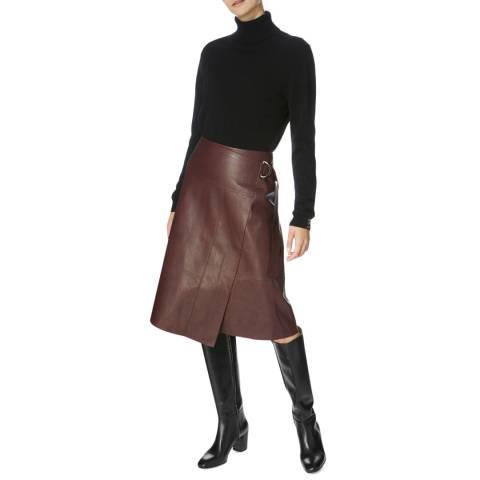 Karen Millen Burgundy Faux Leather Wrap Skirt