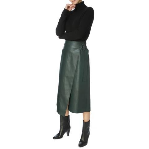 Karen Millen Green Faux Leather Wrap Skirt