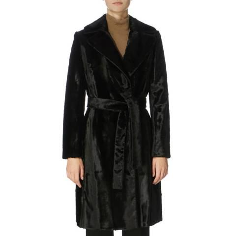 Karen Millen Black Oversized Pony Wrap Coat