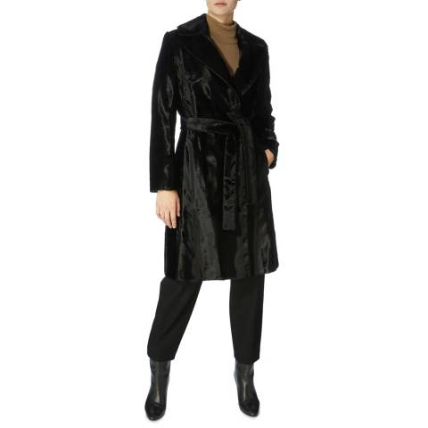 Karen Millen Black Oversized Pony Wrap Coat