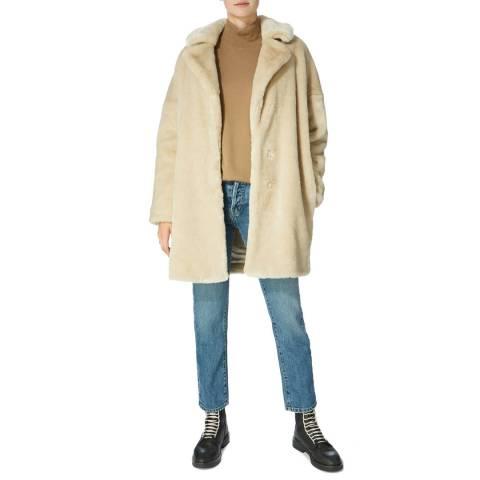 Karen Millen Beige Tailored Faux Fur Coat