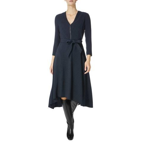 Karen Millen Navy Pinstripe Cutt Dress