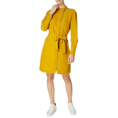 Karen Millen Mustard Zipfront Shirt Dress