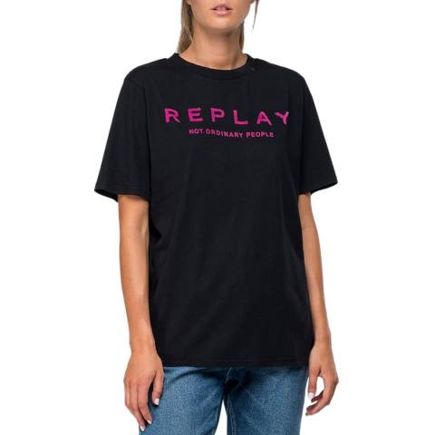 Replay Black Printed Logo T-Shirt
