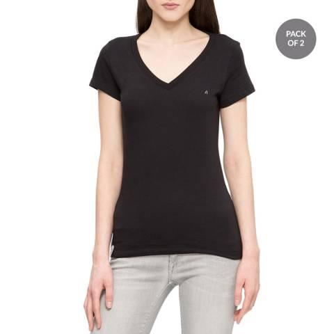 Replay Black V Neck T-Shirt