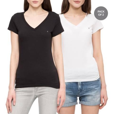 Replay White/Black V Neck T-Shirt