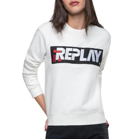 Replay White Embroidered Sweatshirt