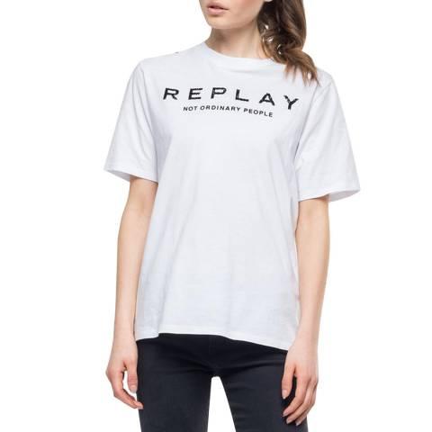 Replay White Printed Logo T-Shirt