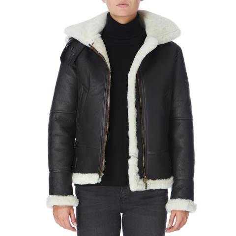 Shearling Boutique Brown Cream Hooded Flying Sheepskin Jacket