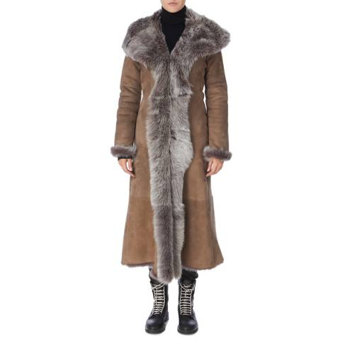Shearling Boutique Taupe Full Length Shearling Coat