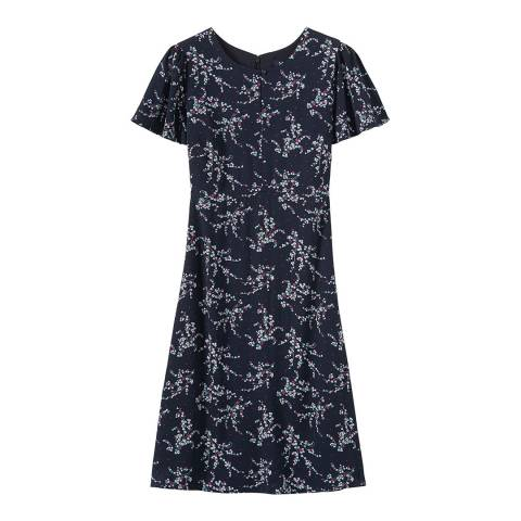 Crew Clothing Navy Ditsy Woven Tea Dress