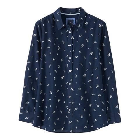 Crew Clothing Navy Silk Mix Printed Shirt