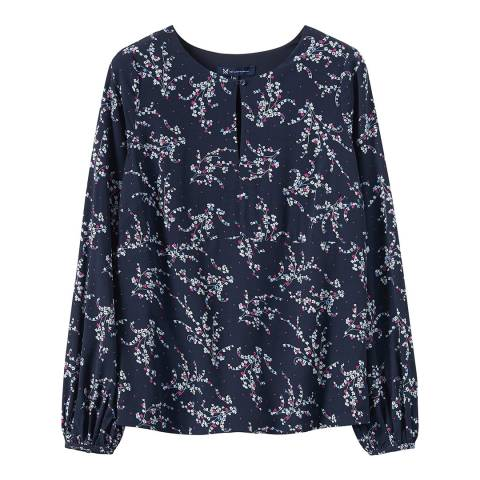 Crew Clothing Navy Ditsy Key Hole Top