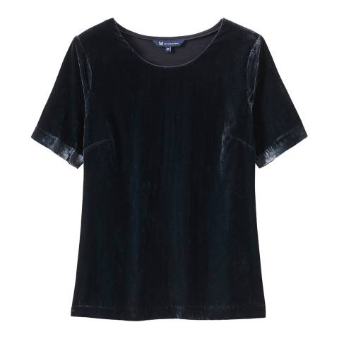 Crew Clothing Dark Navy Velvet T-Shirt