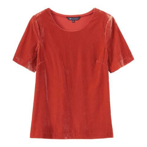 Crew Clothing Flame red Velvet T-shirt