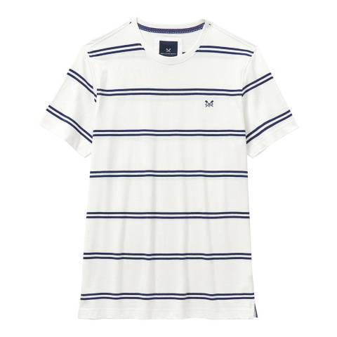 Crew Clothing White/Navy Wide Stripe T-shirt