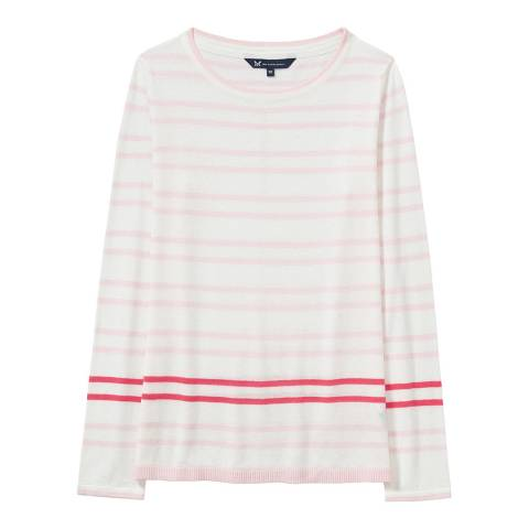Crew Clothing Pink/White Holbeck Jumper