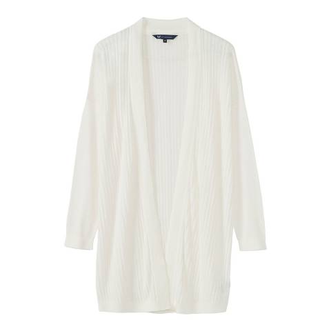Crew Clothing White Linen Holcombe Cardigan