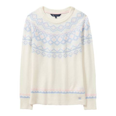 Crew Clothing White/Blue Fairisle Jumper