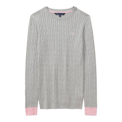 Crew Clothing Grey/Pink Heritage Cable Crew