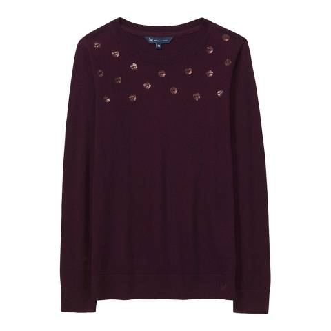 Crew Clothing Damson Sequin Spot Jumper