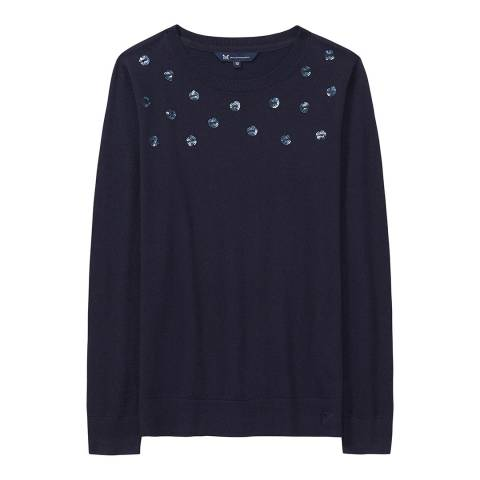 Crew Clothing Dark Navy Sequin Spot Jumper