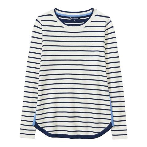 Crew Clothing Navy/White Stripe Mix Jumper