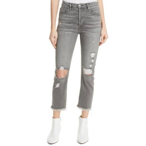 Frame Denim Light Grey Le Original Raw Edge Jeans