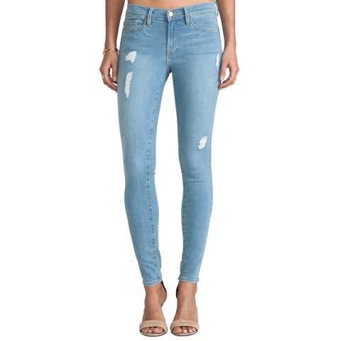 Frame Denim Light Blue Le Skinny De Jeanne Mid Rise Jeans