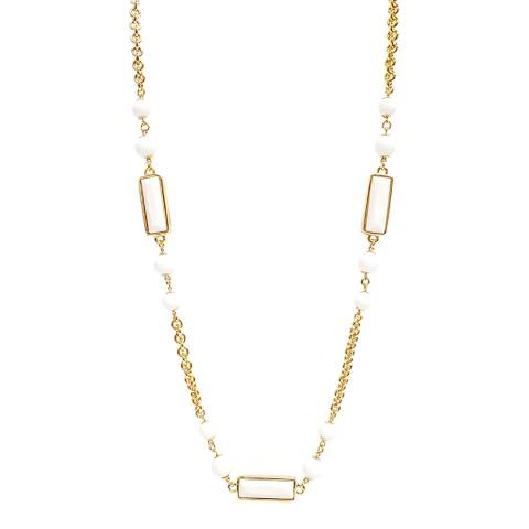 Kenneth Jay Lane Gold/White Bead Necklace