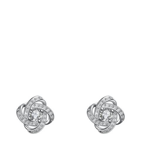 Ma Petite Amie Silver Plated Swarovski Elements Twist Stud Earrings