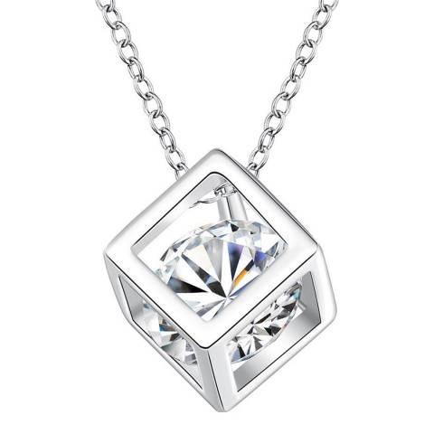 Ma Petite Amie Silver Swarovski Elements Cube Necklace