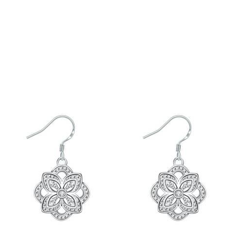 Ma Petite Amie Silver Plated Swarovski Elements Flower Earrings