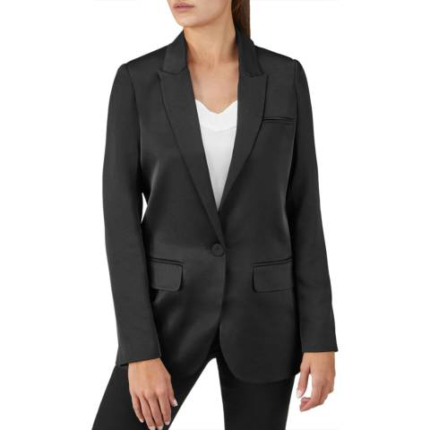 Pure Collection Black Relaxed Satin Blazer
