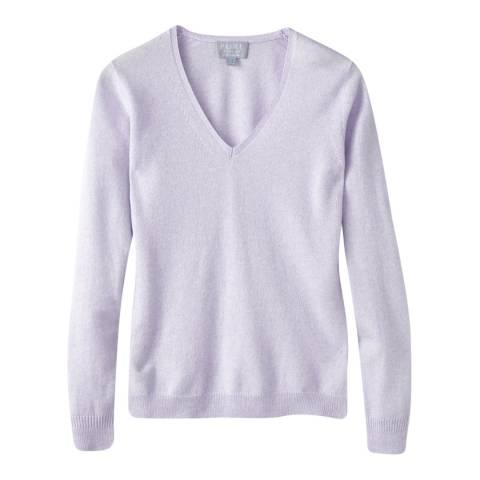 Pure Collection Lilac Cashmere Slim Fit V Neck Jumper