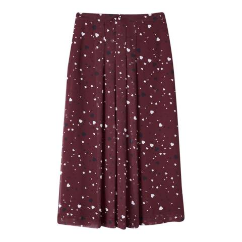 Pure Collection Burgundy/White Soft Pleat Skirt