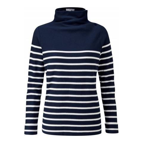 Pure Collection Navy/White Funnel Neck Jersey Top