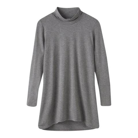 Pure Collection Grey Soft Longline Roll Neck Top