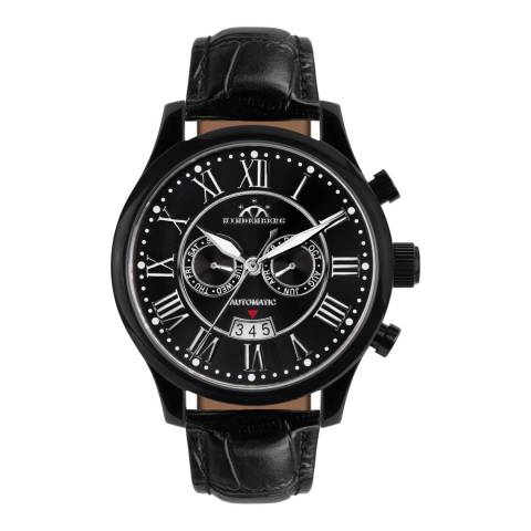 Hindenberg Men's Black Open Date Leather Watch