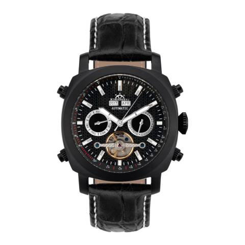 Hindenberg Men's Black Skyray Leather Watch