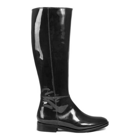 Roberto Carrioli Black Vernice Patent Leather Knee High Boot