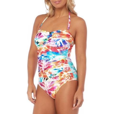 Seaspray Pink/Multi Paradise Draped Bandeau Swimsuit