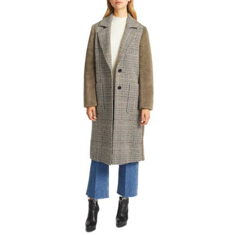 Grace & Oliver Khaki Tweed With Borg Sleeves Coat