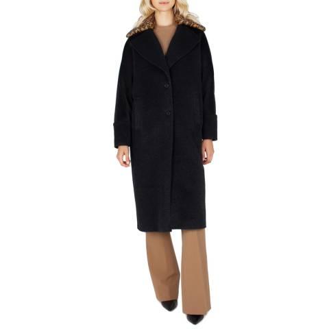 Grace & Oliver Black Wool Blend With Leopard Print Coat